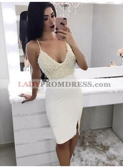 White Sheath/Column Pearls Split-Front Sleeveless V Neck Spaghetti Straps Knee-Length Homecoming Dresses