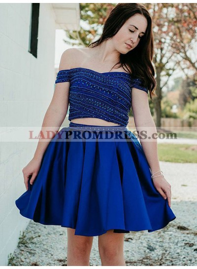 Royal Blue Off-The-Shoulder Beading Ball Gown Pleated Cut Short Mini Homecoming Dresses
