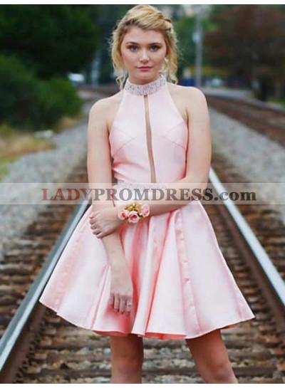 Pink High Neck Halter Sleeveless Backless Short Mini Homecoming Dresses
