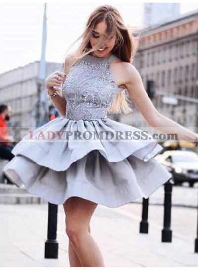 Silver Ball Gown Layers Halter Sleeveless Applique Cut Short Mini Homecoming Dresses
