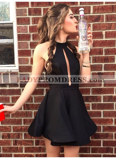 A-Line/Princess Cut Short Mini Cut Out Halter Sleeveless Homecoming Dresses