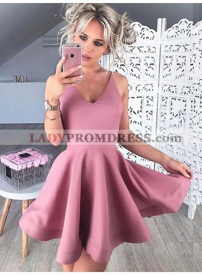 V Neck Sleeveless A-Line/Princess Cut Short Mini Dusty Rose Homecoming Dresses