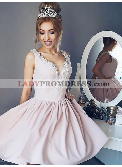 Pale Pink A-Line/Princess V Neck Applique Sleeveless Pleated Cut Short Mini Homecoming Dresses