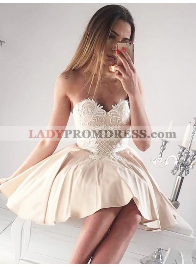 Sweetheart Applique A-Line/Princess Satin Cut Short Mini Homecoming Dresses
