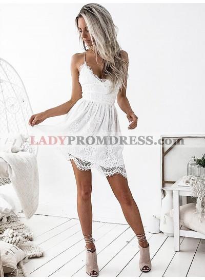 Lace Criss Cross Lace Up Cut Short Mini Spaghetti Homecoming Dresses