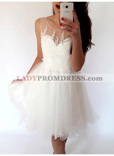Organza A-Line/Princess Scoop Neck Sleeveless Applique Short Mini Homecoming Dresses