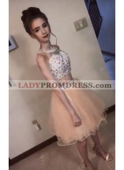 Two Piece Organza Halter Sleeveless Beading Short Mini Homecoming Dresses