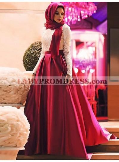 Lace Long Sleeve Satin Burgundy A Line Pleated Floor Length Prom Dresses 2020