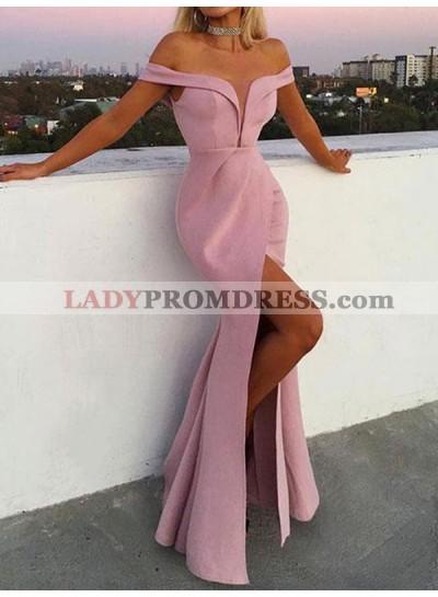 Pink Mermaid Off The Shoulder Front Split Deep V Neck Pleated Prom Dresses 2020