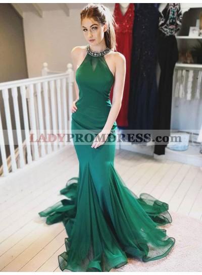 Halter Mermaid Hunter Organza Pleated Sleeveless Elegant Prom Dresses 2020