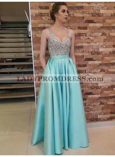 Rhinestone V Neck Sleeveless A Line Blue Satin Pleated Long Prom Dresses 2020