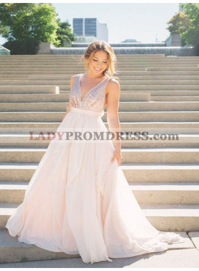 V Neck Sleeveless Sequins Ivory A Line Chiffon Pleated Prom Dresses 2020