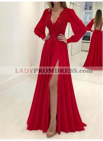 Long Sleeve Red Deep V Neck Satin Pleated Appliques Side Split Prom Dresses 2020