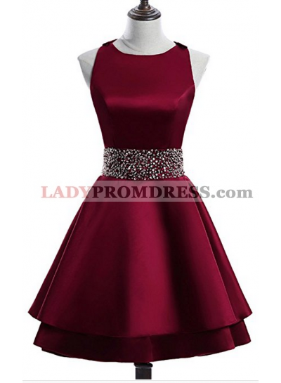 Scoop A Line Tiered Sleeveless Rhinestone Satin Burgundy Pleated Homecoming Dresses