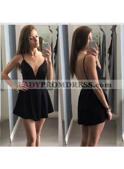 Backless Spaghetti Straps Deep V Neck A Line Pleated Sexy Satin Homecoming Dresses