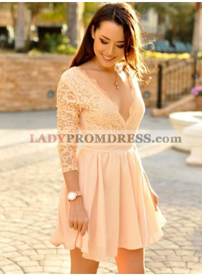 Long Sleeve Deep V Neck A Line Chiffon Pleated Lace Ivory Homecoming Dresses