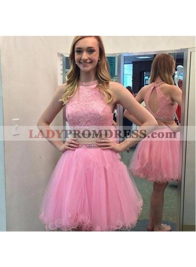 Sleeveless Halter Appliques Pink Two Pieces A Line Organza Backless Homecoming Dresses