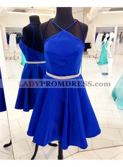 Halter Straps Royal Blue Satin Backless Sexy A Line Pleated Sparkle Homecoming Dresses
