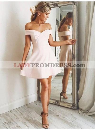 Satin Off The Shoulder A Line Short Pearl Pink V Neck Homecoming Dresses
