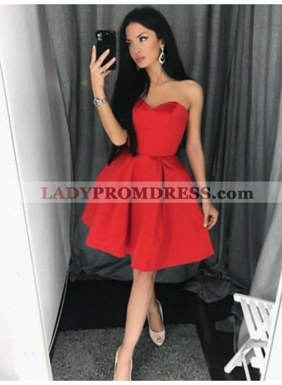 Cute Strapless Sweetheart Sexy Red A Line Pleated Satin Knee Length Homecoming Dresses