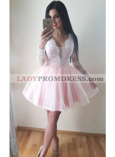 Lace Long Sleeve Sheer Tulle Pleated Short Deep V Neck Exquisite Pink Homecoming Dresses