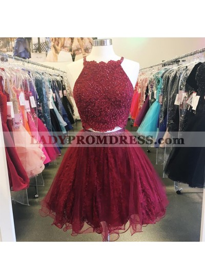 Burgundy Halter Sleeveless Two Pieces A Line Appliques Lace Organza Homecoming Dresses