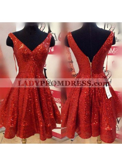V Neck Sleeveless Backless Pleated A Line Sequins Red Sparkle Homecoming Dresses
