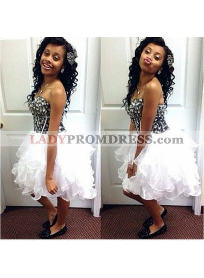 Strapless Sweetheart Rhinestone Ball Gown Pleated Organza Ruffles Homecoming Dresses