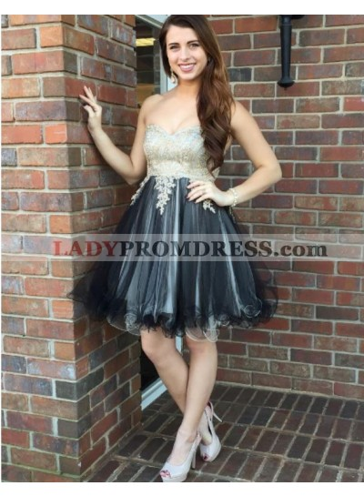 Appliques Flowers Strapless Sweetheart Sexy A Line Organza Pleated Homecoming Dresses