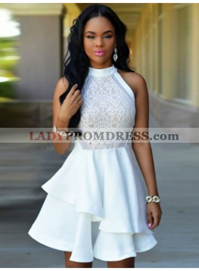 Halter Sleeveless A Line Tiered Pleated White Lace Appliques Homecoming Dresses