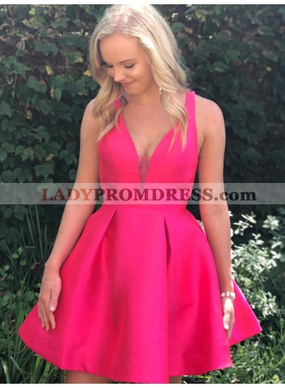 Deep V Neck Sleeveless A Line Satin Pleated Backless Straps Short Homecoming Dresses