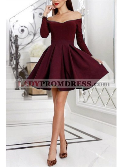 Burgundy Off The Shoulder A Line Pleated Satin Long Sleeve Short Homecoming Dresses