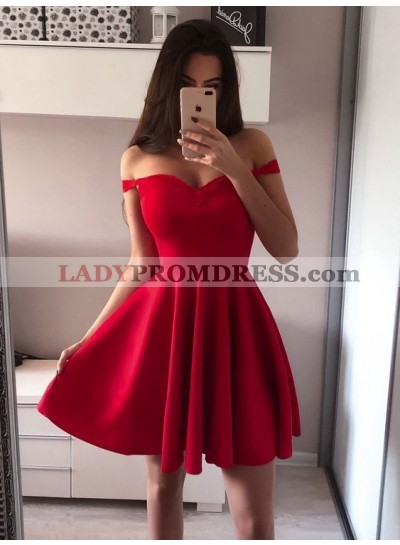 A Line Red Off The Shoulder Sweetheart Pleated Short Satin Homecoming Dresses