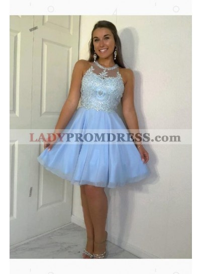 Halter A Line Pleated Tulle Appliques Knee Length Sleeveless Homecoming Dresses