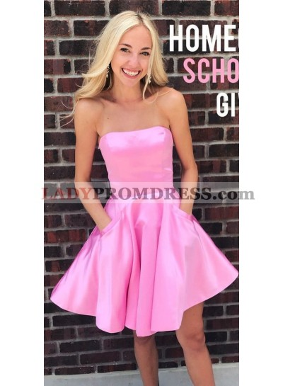 Strapless Straight Sleeveless A Line Pink Pleated Satin Short Pockets Homecoming Dresses