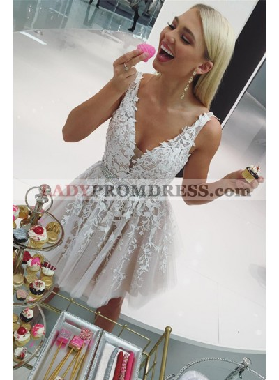 Sleeveless Ivory Deep V Neck A Line Short Pleated Appliques Homecoming Dresses