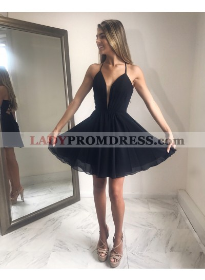 Halter Sleeveless Lace Up Backless Black Chiffon A Line Pleated Homecoming Dresses