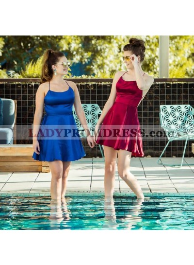 Halter Straps Backless A Line Short Pleated Satin Criss Cross Homecoming Dresses