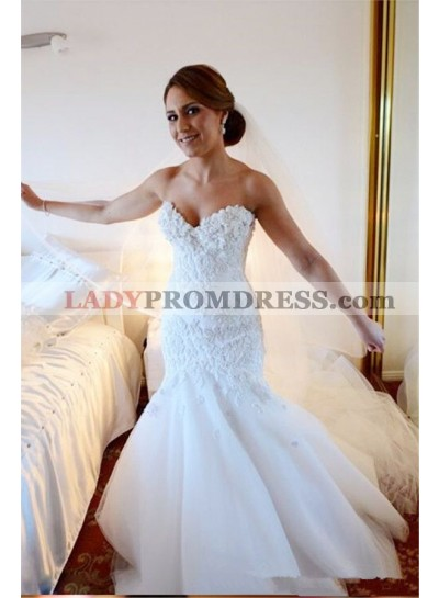 2021 Sexy Mermaid/Trumpet Sweetheart Tulle Applique Tiered Long Train Wedding Dresses / Bridal Gowns