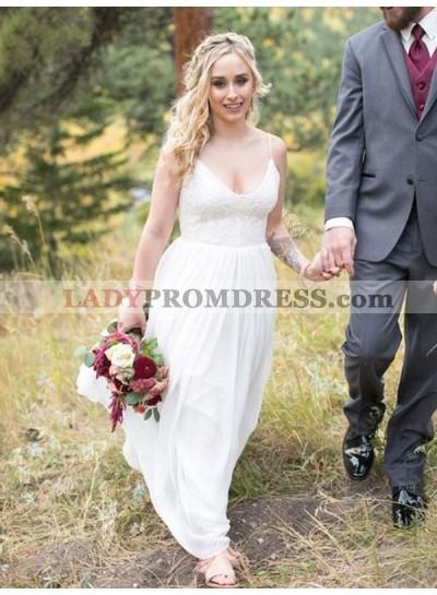 Cheap A Line/Princess Backless Chiffon Lace Beach Wedding Dresses / Bridal Gowns 2021