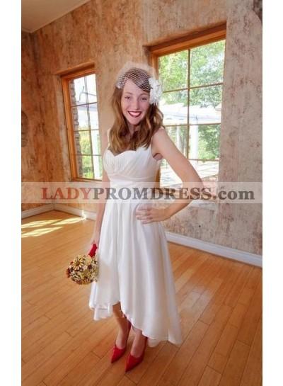 Classic A Line/Princess Elastic Satin Sweetheart High Low Tea Length Short Wedding Dresses / Bridal Gowns 2021