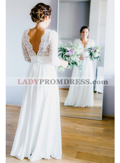2020 New Arrival A Line/Princess Chiffon Long Sleeves V Neck Lace Beach Wedding Dresses / Bridal Gowns