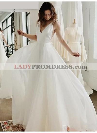2021 New Arrival A Line/Princess V Neck Chiffon Backless Floor Length Long Beach Wedding Dresses / Bridal Gowns