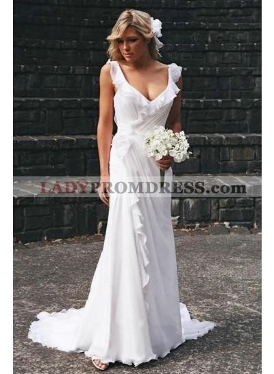 2021 Newly A Line/Princess Chiffon Pleated Beach Wedding Dresses / Bridal Gowns