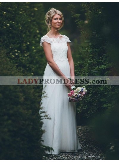 2021 Elegant A Line/Princess Tulle Capped Sleeves Lace Floor Length Long Wedding Dresses / Bridal Gowns