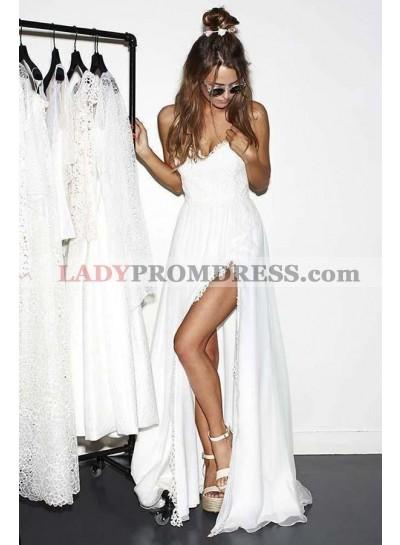 2020 Cheap A Line/Princess Chiffon Side Slit Sweetheart Lace Beach Wedding Dresses / Bridal Gowns