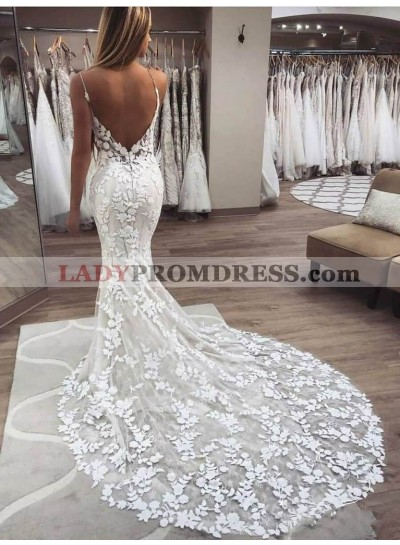 2020 Sexy Mermaid/Trumpet Sweetheart Spaghetti Straps Backless Lace Wedding Dresses / Bridal Gowns