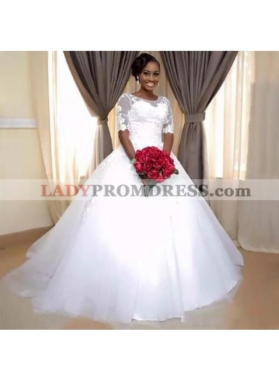 2020 New Arrival White Bateau Tulle Lace up Ball Gown Wedding Dresses / Bridal Gowns