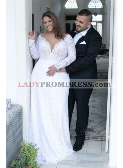 2020 New Arrival A Line/Princess White Long Sleeves Sweetheart Lace Plus Size Wedding Dresses / Bridal Gowns