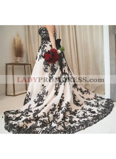 2021 New Arrival A Line/Princess Sweetheart Bowknot Plus Size Wedding Dresses / Bridal Gowns Black Appliques